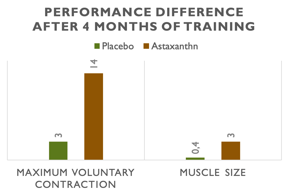 Increased power & muscle mass after 4 months of training with astaxanthin